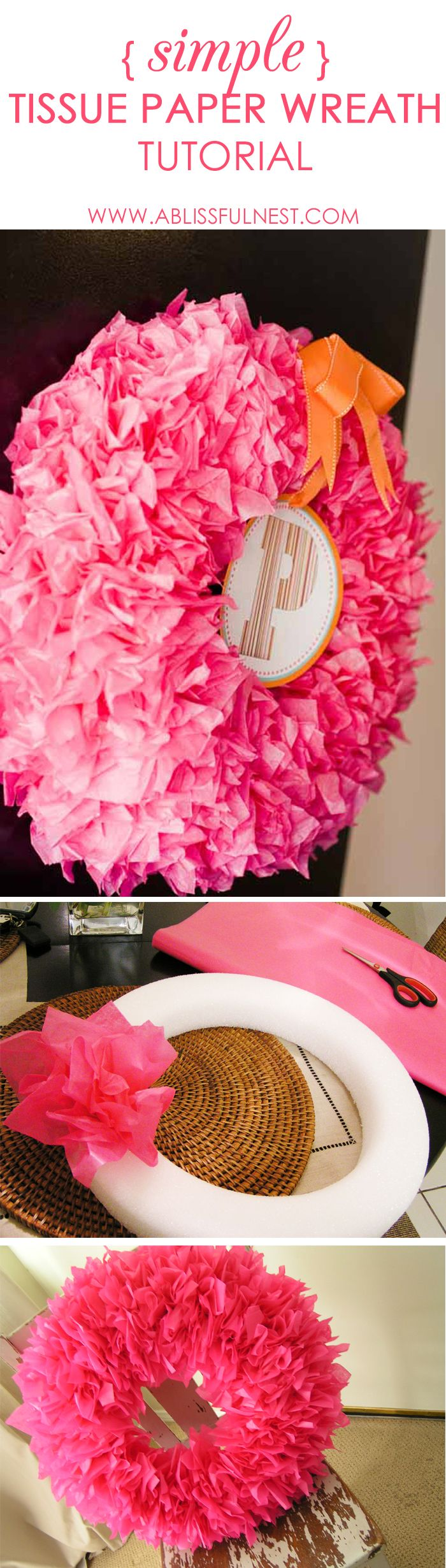 Tissue Paper Wreath Tutorial - easy simple steps to create this DIY wreath.