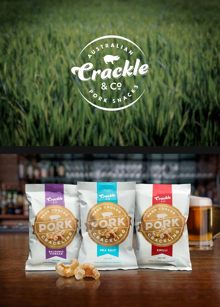 Crackle & Co produces the most more-ish pork crackling around. This family–owned business works directly with local suppliers to produce a light, tasty and all–natural snack. We designed the #logo with a script font to reflect the heritage aspect of natural farm products. In contrast the #packaging is contemporary. Earthy tones and a hessian background combine to project a fresh and warm country feel. Designed by @wattsdesignau