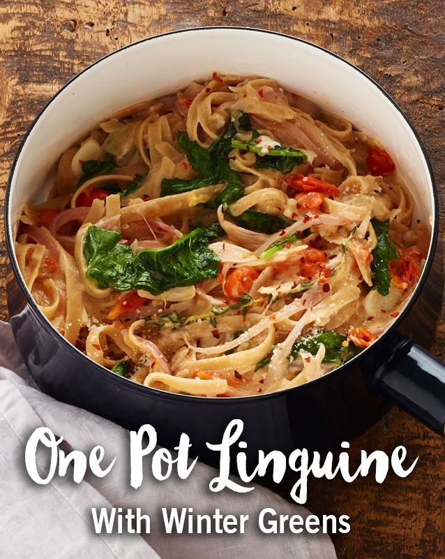 Fall means back to basics, and what's better than a fresh pasta dish? Try this One Pot Linguine With Winter Greens.