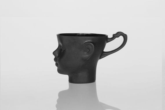 Porcelain doll head mug in black - whimsical black ceramic artisan cup, for coffee or tea