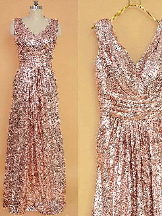 Sequin Bridesmaid Dress Rose Gold/ Long Sequins Prom Dresses/ Floor Length Bridesmaid dresses, Sequin Evening Dress