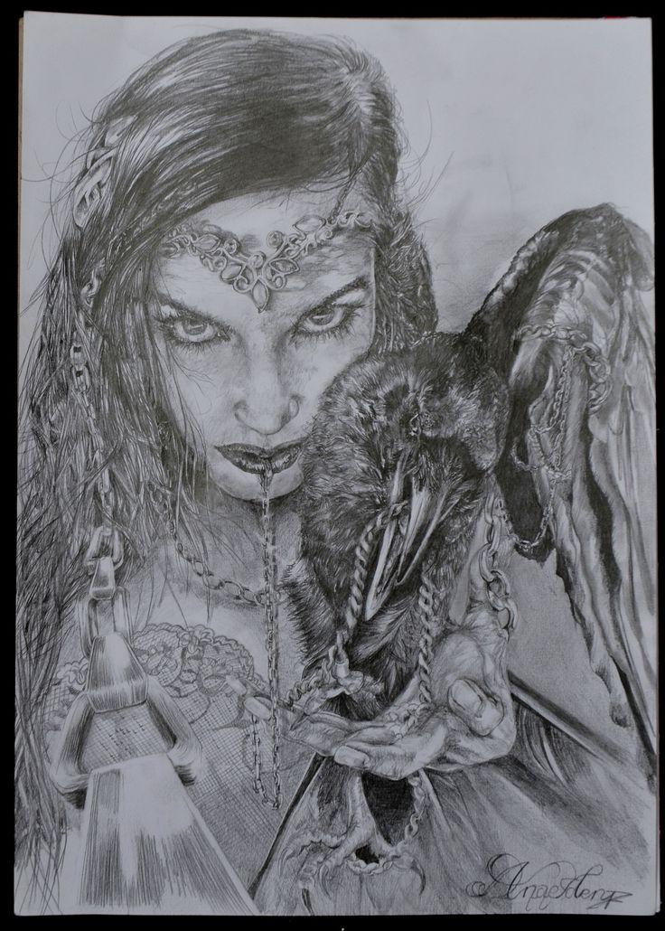 Dara 4 #dara #women with #raven #iwantedtobefree #jerwerly #mystic #dark #fantasy #eyes #misticeyes #piercing#pencilonpaper by #danaiden