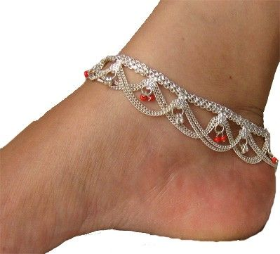 Silver anklets-- classic design