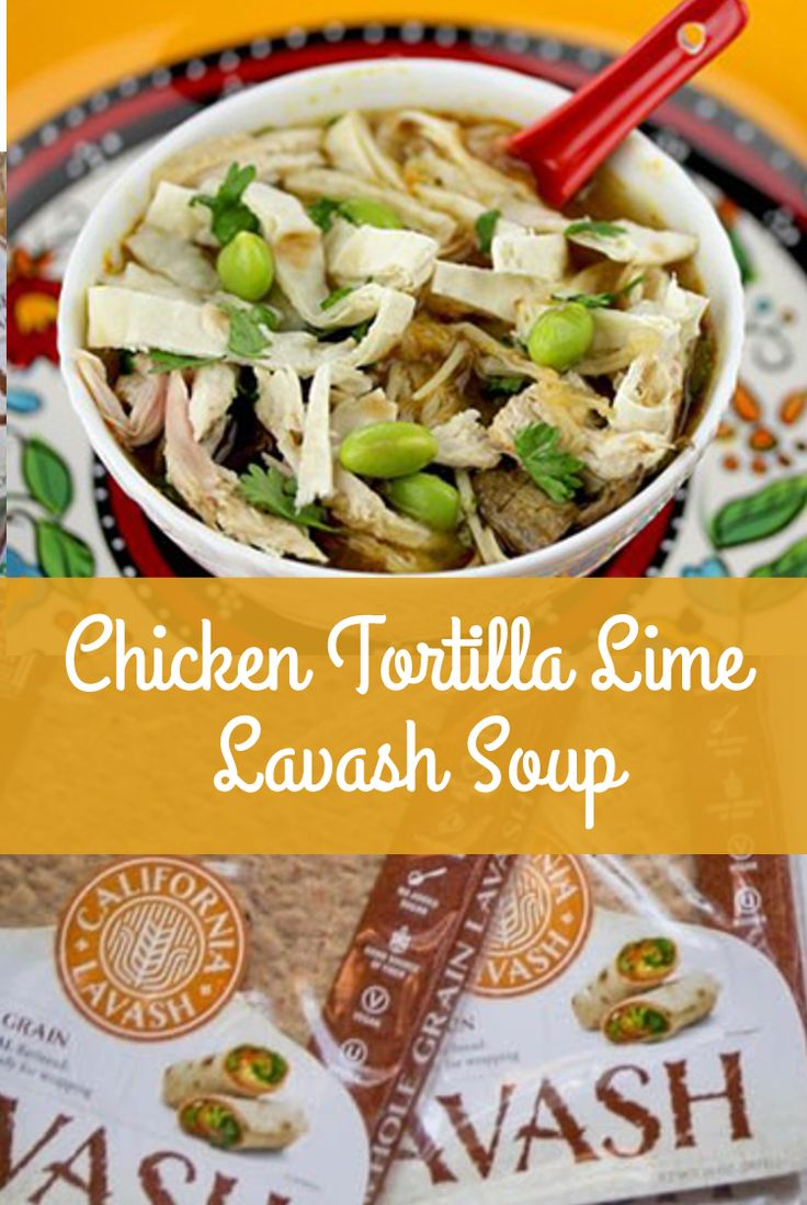 INGREDIENTS:  2-3 sheets of California Lavash Traditional, Whole Grain, or Spinach Lavash (Pictured: Whole Grain Lavash)  2 quarts chicken stock*  4 tbsp. canola oil  ½ white onion, finely diced  ½ tsp. ground cumin  3 tbsp. tomato paste  1-½ cups shredded roasted chicken*  ¼ cup steamed edamame beans, shelled  2 limes, just the juice, freshly squeezed  1 clove garlic, finely minced  ½ tsp. red chili powder  7 oz. fresh enoki mushrooms, separated (or other mushrooms and vegetables)  1 (14.5…