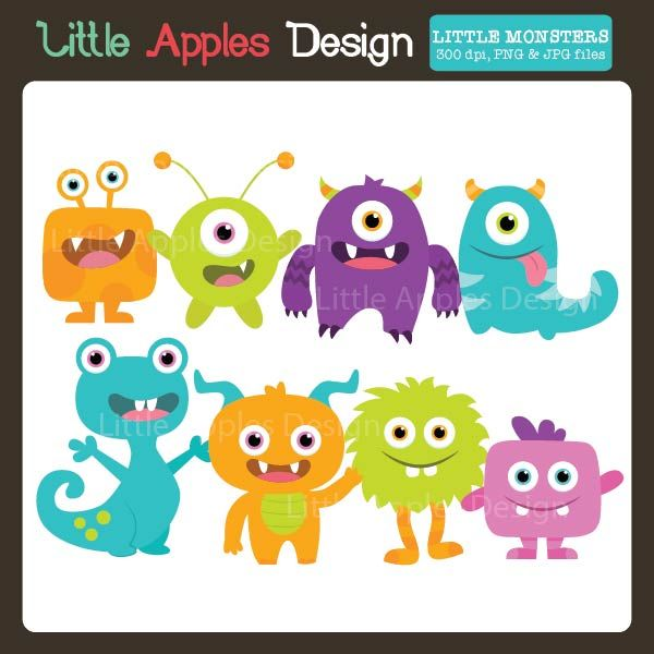 Little Monsters Clipart - cute monsters for party invitations, school projects, cards and more.