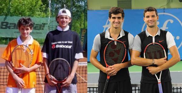 10/2014: Friends then, and friends now. Grigor #Dimitrov and Pierre-Hugues #Herbert through to second round in If #StockholmOpen