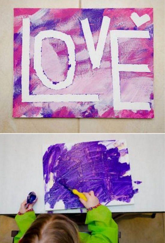 """Esta manualidad c0n pintura sobre lienzo, es ideal para hacer por el Día de los Enamorados con los niños. Además de paso pueden experimentar sus primeros pasos en la pintura, creando esta original pintura con las letras LOVE """"amor"""" Autor..."""