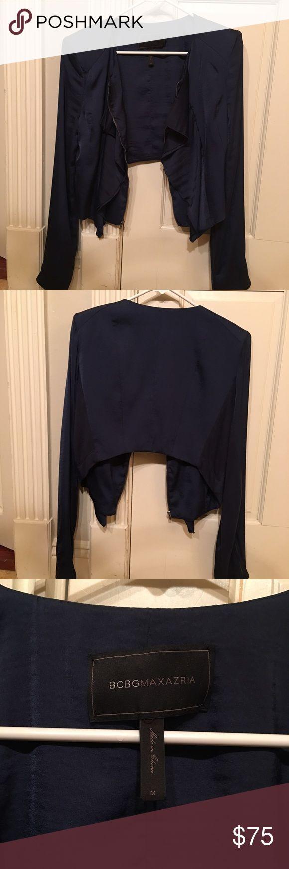 BCBG MaxAzria Cropped Blazer BCBG MaxAzria Cropped Blazer. Navy blue. Ruffle front. In like new condition BCBGMaxAzria Jackets & Coats Blazers