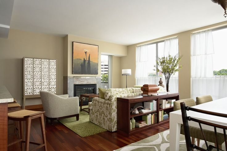 Interior Reasons Why Japanese Interior Design is Popular: Awesome Living Room With Dining Room In Small Area With Floral Sofa Pattern And Fireplace Also Parquet Wooden Floor With Rug And Floral Couch And White Lovely Arm Chair And Floor Lamp Bay Window