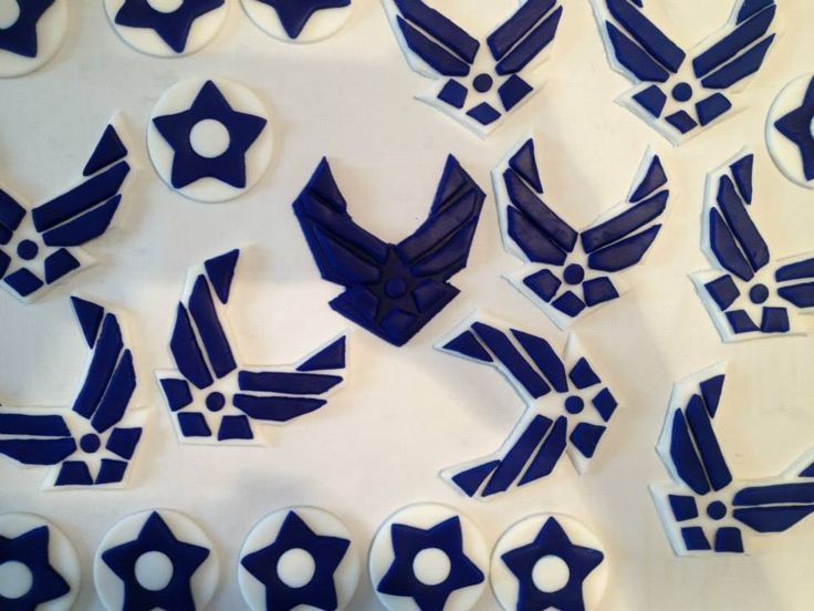 Air Force fondant cupcake toppers.