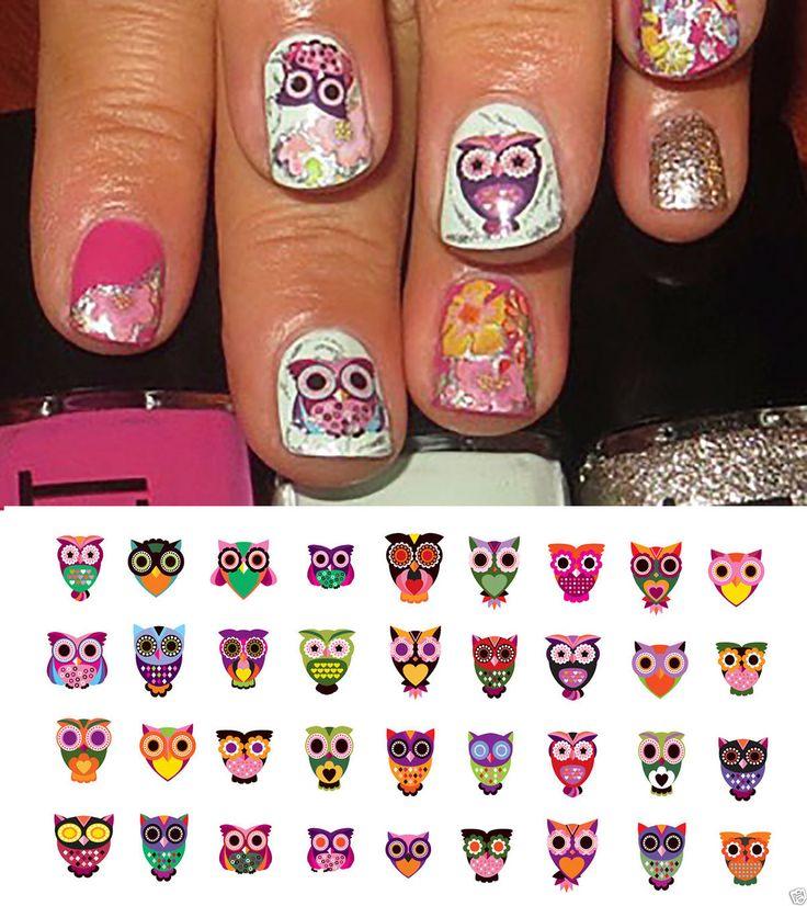 32 best Owl Nail Art Decals images on Pinterest | Owl nail art, Owl ...