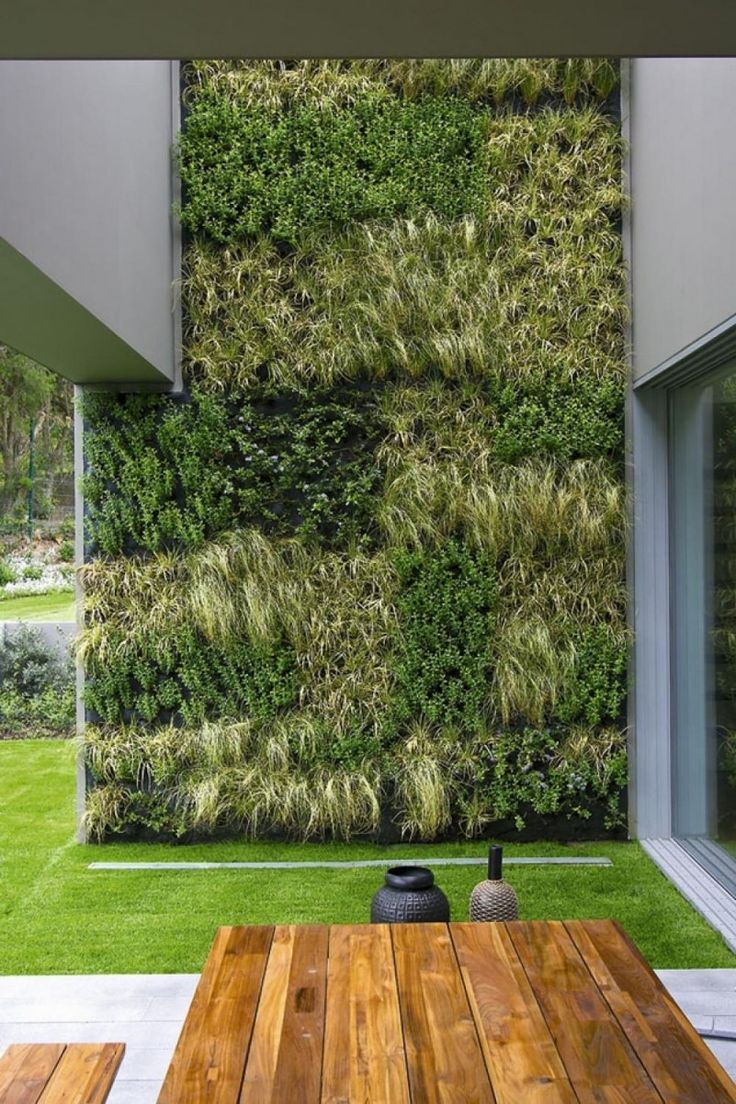 Livewall green wall system make conferences more comfortable - Exterior Residential Vertical Garden Table Top Wall For Exterior Also With Wooden Bars Table Natural Style