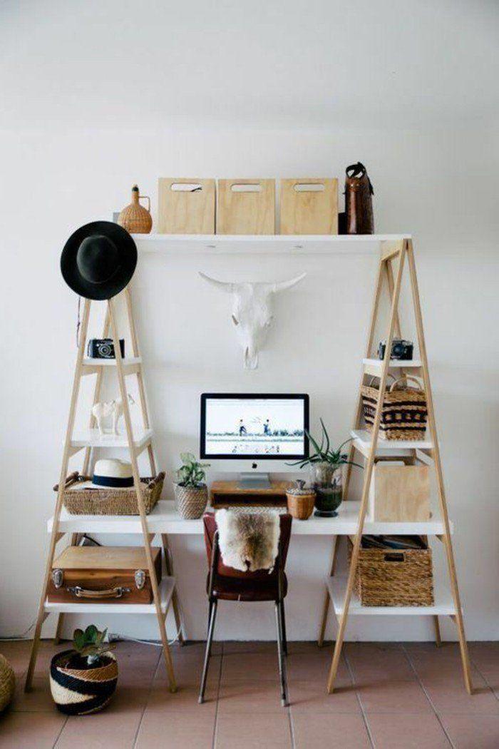 sol en carrelage beige, décorer son appartement avec etageres en bois clair, astus deco