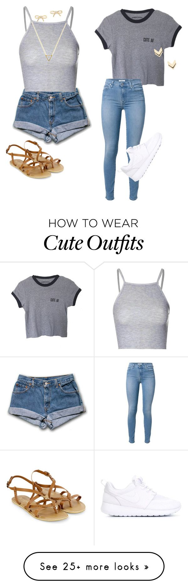 """Monday&tuesdays outfit!"" by superwomennicky on Polyvore featuring Accessorize, Glamorous, Kate Spade, Leslie Danzis, Wanderlust + Co, 7 For All Mankind and NIKE"