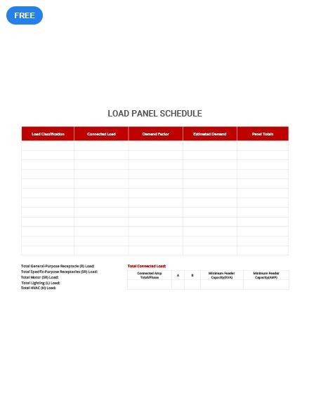 Ensure Proper Loading To Avoid Overloading Of Your Breakers Using This Load Panel Schedule Template