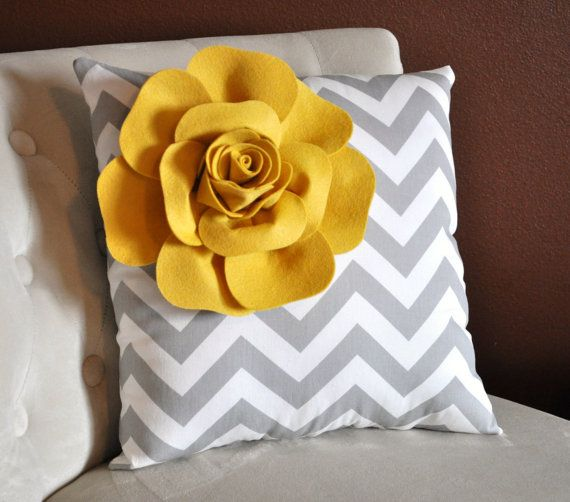 ALL ITEMS ARE MADE TO ORDER PLEASE SEE SHOP FOR CURRENT CREATION TIME!!!  Mellow Yellow Corner Dahlia on Gray and White Chevron Pillow. 16 x 16  (Larger Sizes can be made.)    For More Color Combinations See Our Shop! Click Here: http://www.etsy.com/shop/bedbuggs    This Pillow is Stunning! The Perfect touch for any room. ~Pillow can be turned into ring bearer too...just ask!    Mellow Yellow Dahlia is 3D and made from the Highest Quality Wool Felt.  Dahlia measures about 8 in diameter and…