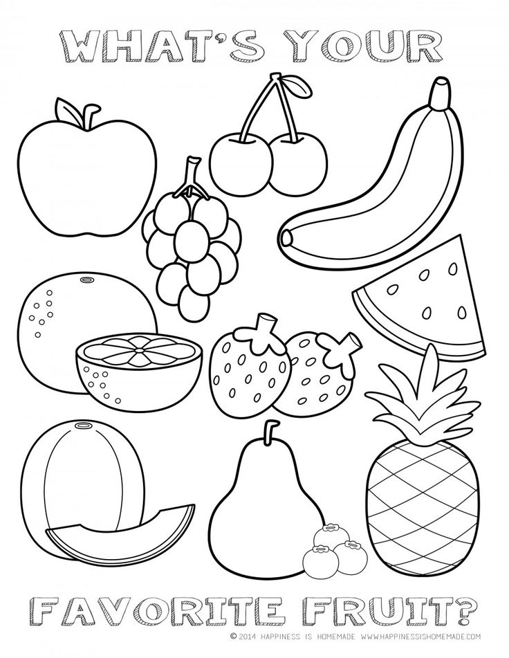 FREE Fruit Coloring Page | Happiness is Homemade (With ... | fruits coloring pages for kindergarten