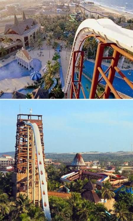"""Please note how the slide say """"Insano"""". """"Its height is equivalent to that of a 14-storey building. As a consequence of its height and slope, this water slide provides an extremely rapid descent - taking between four and five seconds - at a speed of 105 km/h."""""""