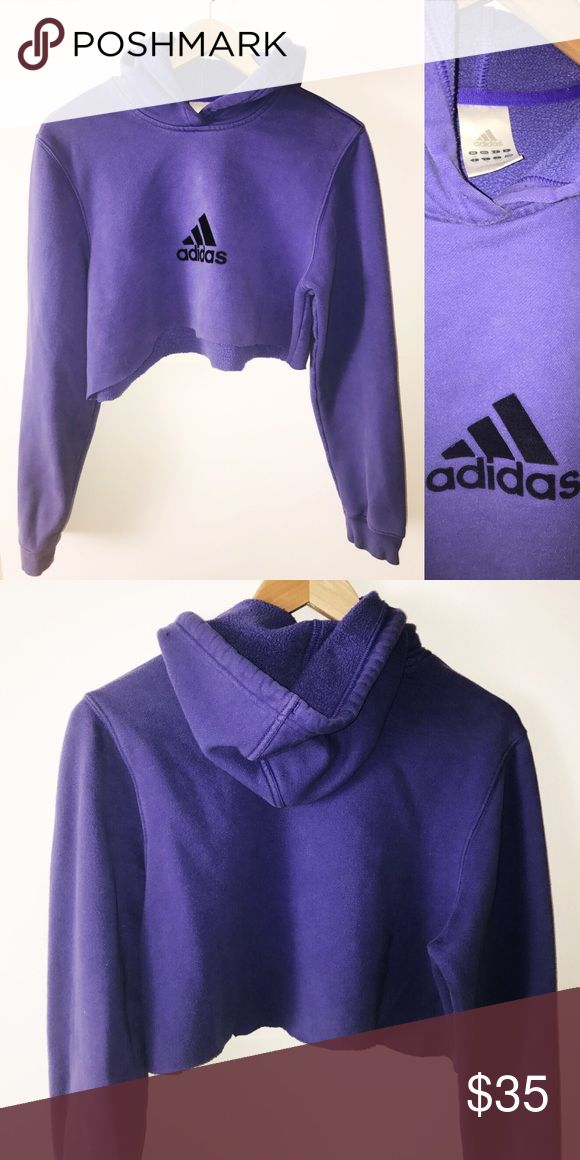 Vintage cropped Adidas hoodie  Perfect condition.  Raw hem. Super cute! Tagged as a kids Large fits as woman's Small.   ⚖ Reasonable Offers Considered through offer button.  ⚜Top Seller. No Trades.   Quick Shipping.        Bundle for Discount. Adidas Tops Sweatshirts & Hoodies