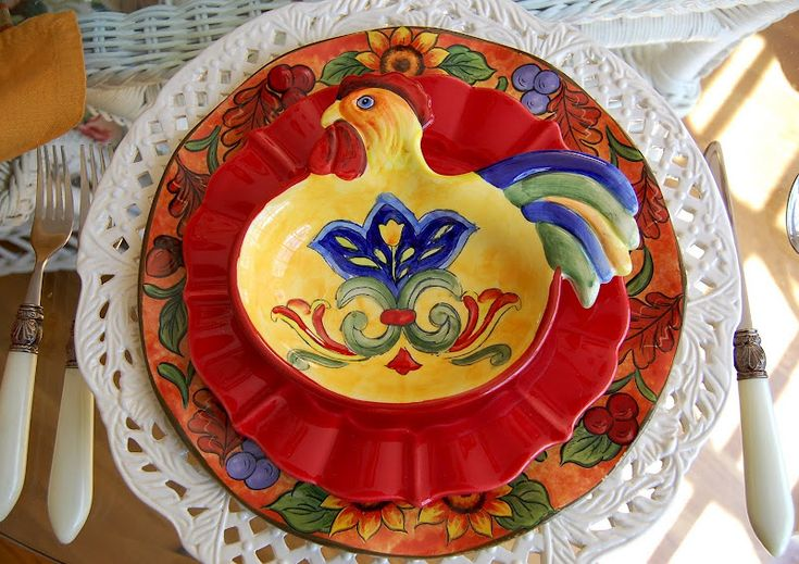 A Country Rooster Table Setting China