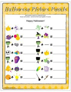Halloween Game - Picture Puzzle: brain teasers, add two separate words to make one. Printable halloween games.