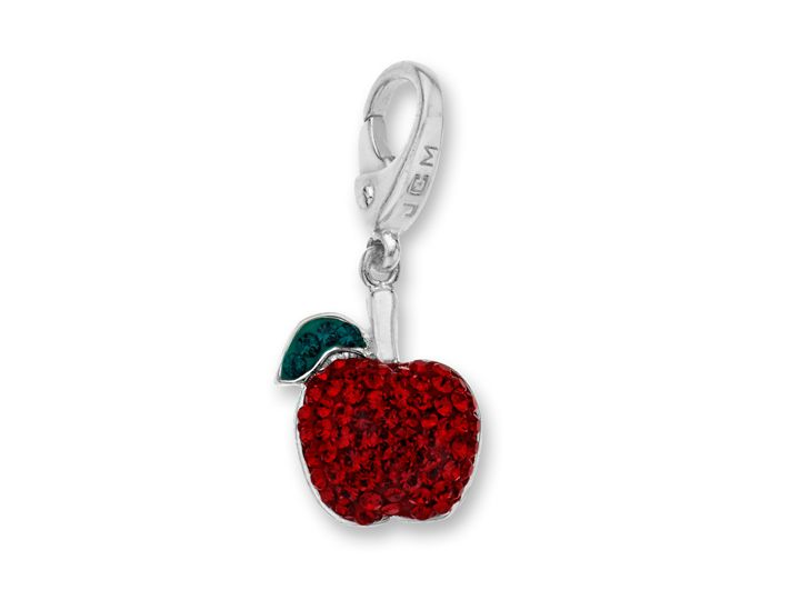 Keep the doctor away and brighten your day with this cheery charm! A glistening apple features candy red and green crystal on a stylized form crafted in sterling silver. Piece measures 1 1/8 by 1/2 inches.