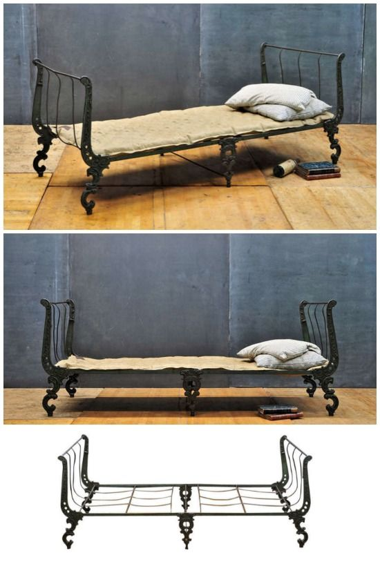 I'm decorating our old Victorian house via Craigslist and auctions… This folding iron campaign bed is my latest treasure! If you love salvaged decor, come see what else I've collected.