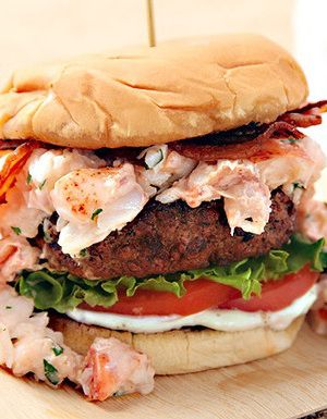 Grilled Burger with lobster meat and bacon.This delicious recipe dedicates to all burger lovers.Try to cook this juicy burger.Yummy!!!!