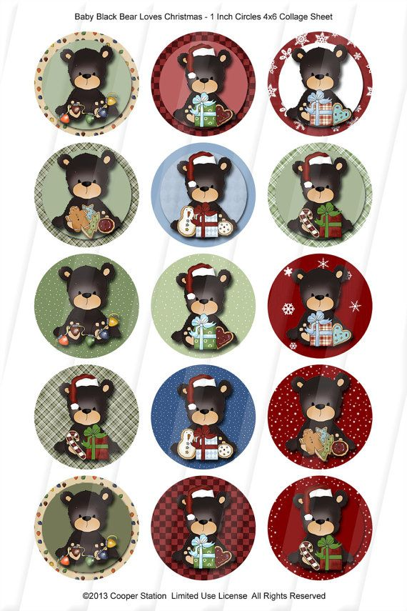 Christmas Bears one inch digital collage images от CooperStation