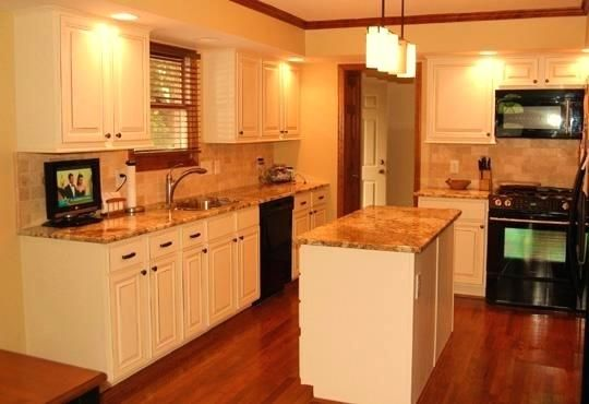 white kitchen cabinets with stained wood trim - Google ...