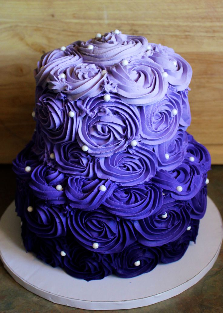Purple Ombre Rosette Cake  Tansy Cakes Bakery in 2019