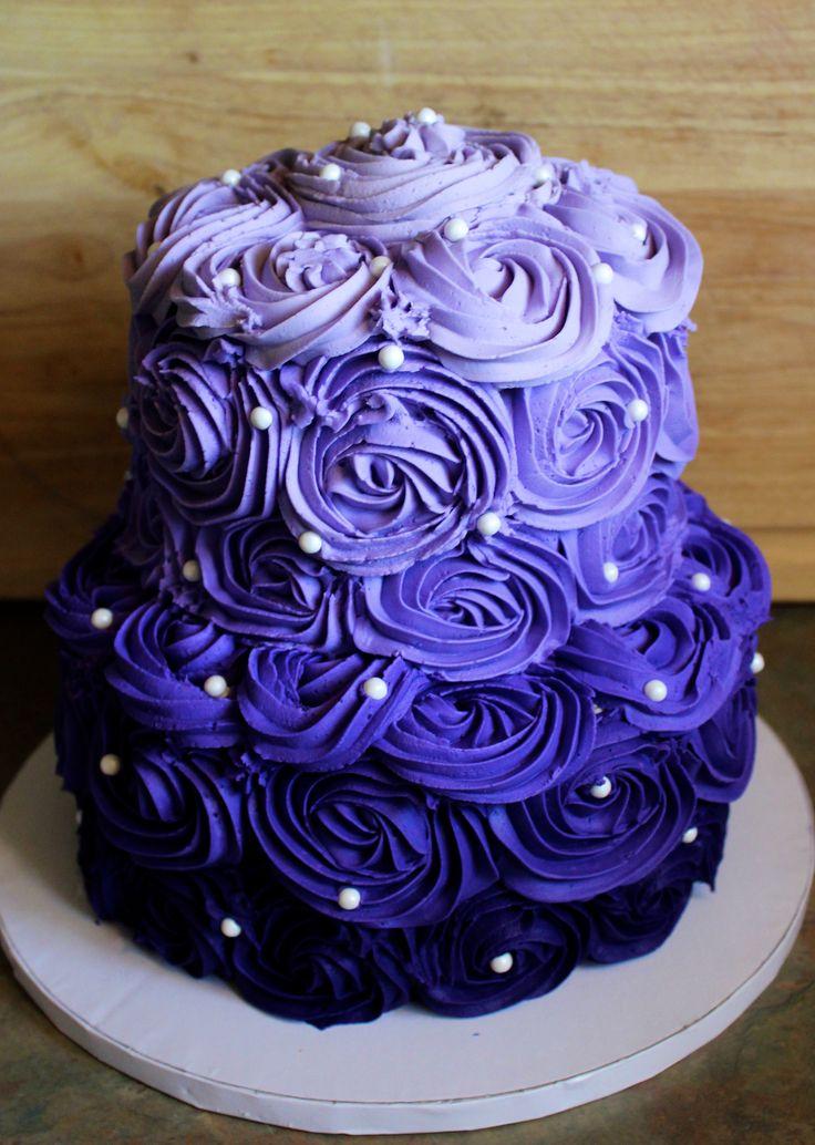 Purple Ombre Rosette Cake Tansy Cakes Bakery Pinterest