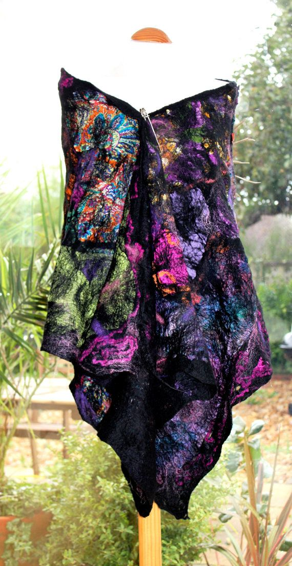 """Black nuno felted wool & silk Shawl wrap scarf """"Stained Glass"""" with green pink…"""