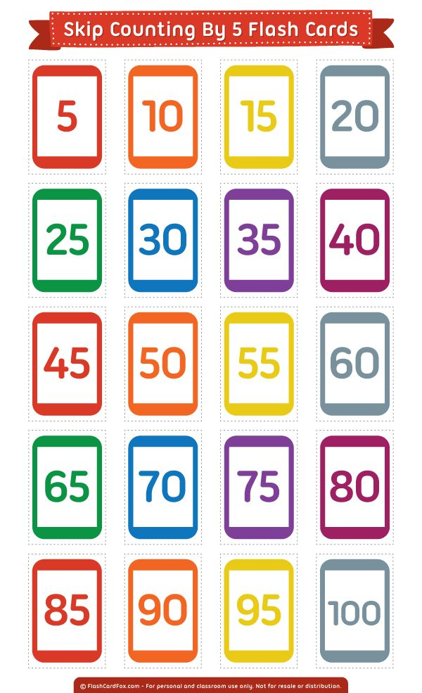 Free printable skip counting by 5 flash cards. Download them in PDF format at http://flashcardfox.com/download/skip-counting-by-5-flash-cards/