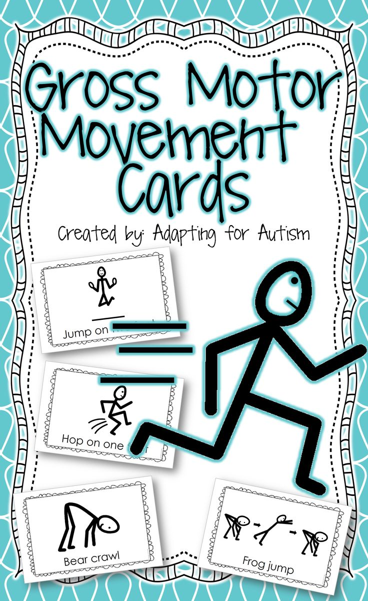 The resource includes 10 gross motor movement cards you can use to get your students moving. Each 1/2 page card has a stick figure performing a motor movement. Includes run, walk backwards, walk sideways, bear crawl, frog jump, hop on one foot, jump on two feet, crawl, march and crab walk. #grossmotor {Created by Adapting for Autism}…