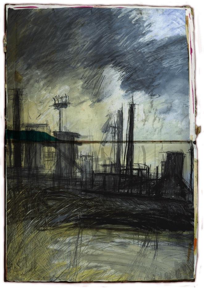South Gare, Teesside. Vibrant Steel works #teesside #sketchbook #art