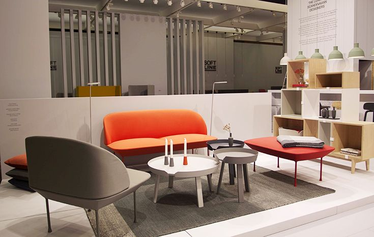 Muuto at Orgatec Fair Cologne here displaying the Oslo sofa and Around coffee table
