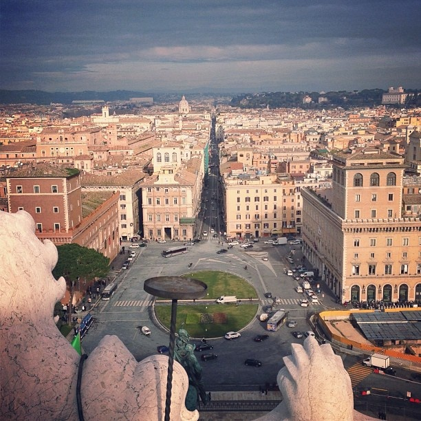 View over Piazza Venezia and the Via del Corso from the roof of the Victor Emmanuel Monument.