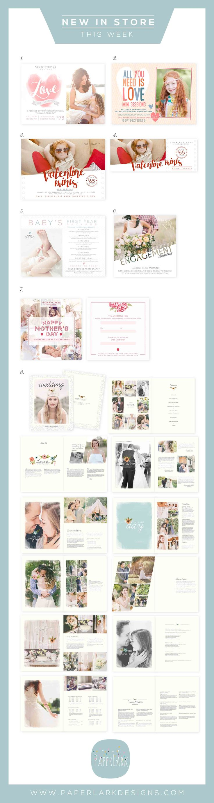 This weeks latest template designs from Paper Lark Photography templates shop http://www.paperlarkdesigns.com/collections/whats-new