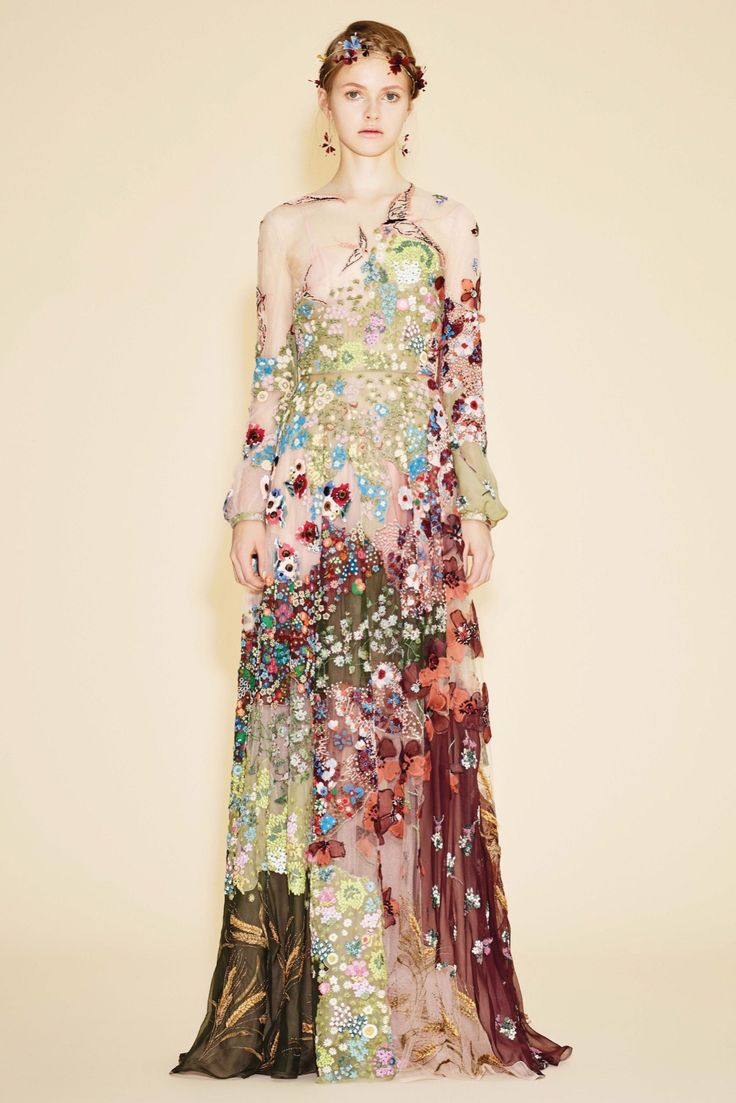 Embroidered Sheer Gown from the Valentino Resort 2016 collection.