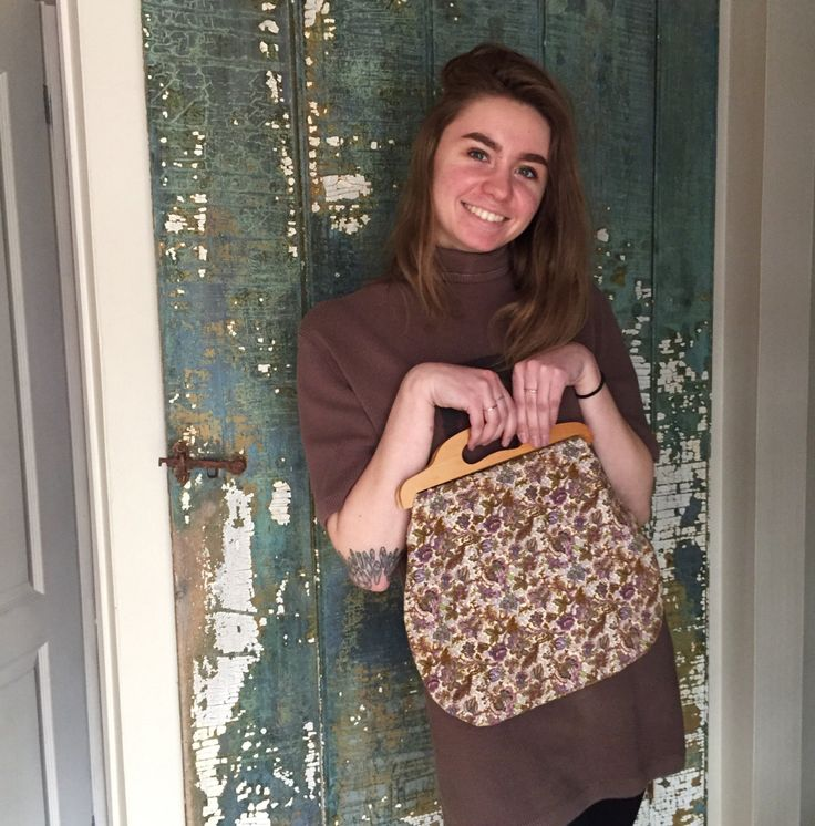 Granny Chic Knitting Bag: 1970s Vintage Purse, Knitting Sewing Bag, Handmade Tote With Floral Pattern and Wood Handles by Untried on Etsy