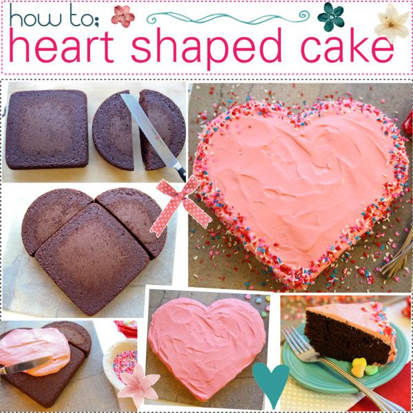 • HOW TO MAKE A ♥ SHAPED CAKE • Follow the directions of 1 cake mix box to make the batter. Divide the batter equally between an 8-inch square pan & an 8-inch circle pan. Bake as directed on box. Let them cool for 10 mins, then place your cakes on wire racks until they are completely cooled. Cut your circle cake in half. Add a few drops of red food colouring to the premade icing, until you've reached your desired pinkness.