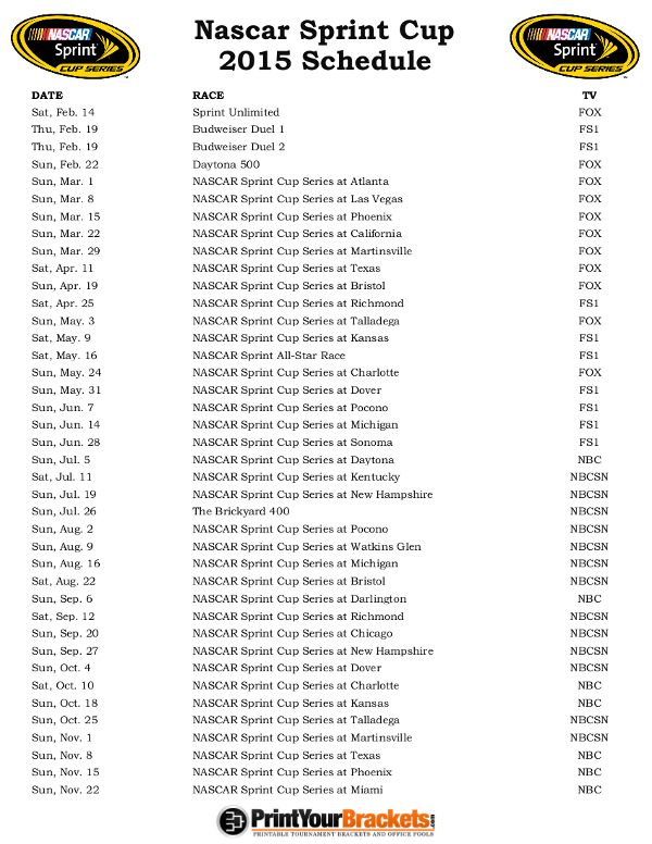 nascar race schedule march 2015