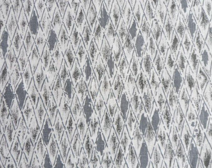 "Linen tablecloth 54""x 98'' Natural linen table cloth. Modern tablecloth gray print. Scandinavian tablecloth."