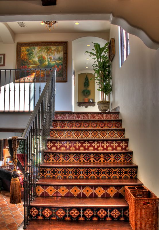 Spanish Revival Stairs with Tile Risers my stairs painted to resemble this stairs?!?!?