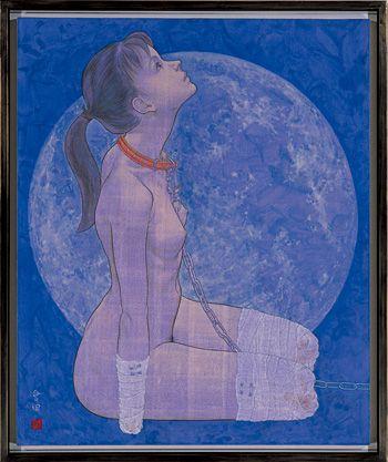 """会田誠『犬(雪月花のうち""""月"""")』1996年 岩顔料、アクリル絵具、和紙、パネル 100×90 cm 高橋コレクション蔵、東京 Courtesy: Mizuma Art Gallery"""