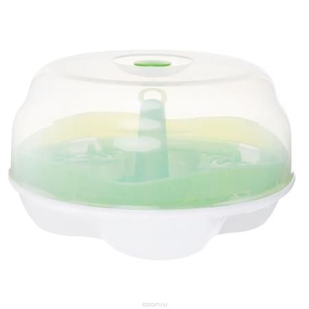 """Стерилизатор для микроволновой печи """"Born Free"""", цвет: белый, салатовый  — 3124р.  Стерилизатор для микроволновой печи """"Born Free"""" удобно вместит в себя все виды емкостей, что позволит вам избежать неудобств по поводу нестандартных размеров посуды для кормления. И главное - он вмещает в себя сразу четыре бутылочки объемом 250 мл, затрачивая на их стерилизацию всего четыре минуты. Подходит для стерилизации всех видов бутылочек и других аксессуаров BornFree. Оснащен специальными ручками для…"""