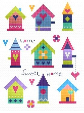 "Pretty Birdhouses (CSKGS144)   New 'Home Sweet Home' sampler cross stitch kit designed by The Stitching Shed. Simple design so maybe suitable for beginners depending on their ability.   Contents: 14 count aida fabric, anchor threads, chart and full instructions.    Size: 5.5"" x 8"".    *Usually dispatched within 5 working days*"