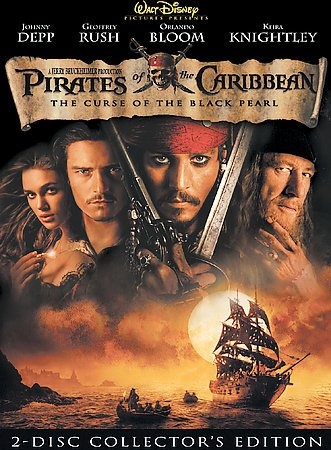 """Pirates of the Caribbean The Curse of the Black Pearl [PN1995.9 .A3 P667 2003] Blacksmith Will Turner teams up with eccentric pirate """"Captain"""" Jack Sparrow to save his love, the governor's daughter, from Jack's former pirate allies, who are now undead. Director:Gore Verbinski Writers:Ted Elliott (screen story), Terry Rossio (screen story), Stars:Johnny Depp, Geoffrey Rush, Orlando Bloom"""