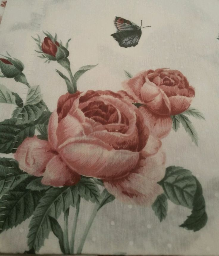 Vintage Pink Rose Butterfly Floral Blouson Valance Made in USA White Polkadots